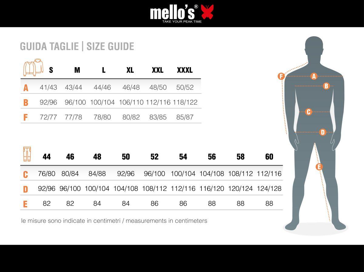 Size Chart, Men | Mello's