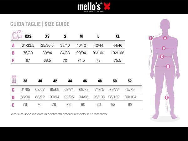 Guía de tamaño, mujer, Mello's